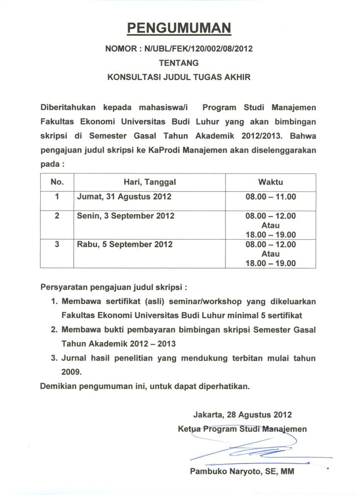Jadwal Pengajuan Judul Ta Prodi Manajemen Semester Gasal 2012 2013