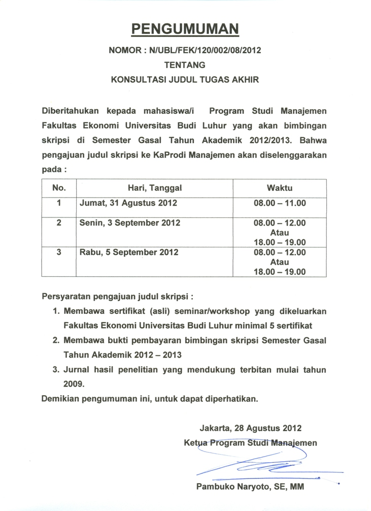 Jadwal Pengajuan Judul TA Prodi Manajemen Semester Gasal ...